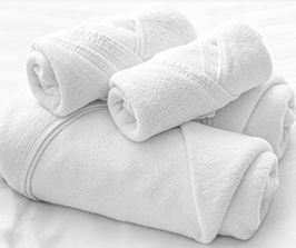 stack of clean linens - bathrobes