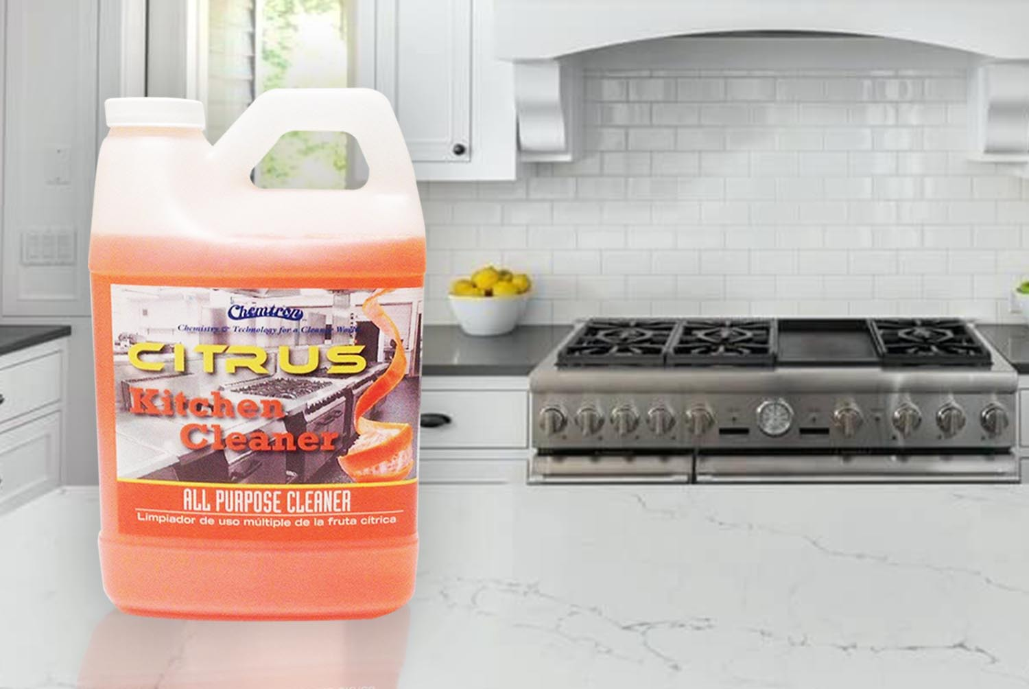 Citrus Kitchen Cleaner on the floor after use